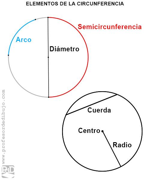 Elementos de una circunferencia: radio, diámetro, semicircunferencia, cuerda y centro.