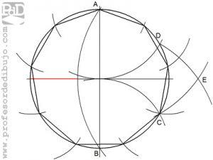 Como dibujar un polígono de 9 lados inscrito en una circunferencia (Eneágono o Nonágono).